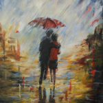 322 Walking in the rain 60x80 cm kr. 3800