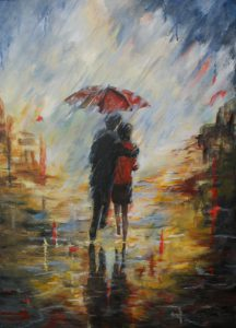 322 Walking in the rain 60x80 cm