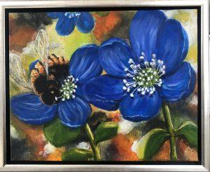 404 Den blå anemone 30 x 24 cm  kr. 1800